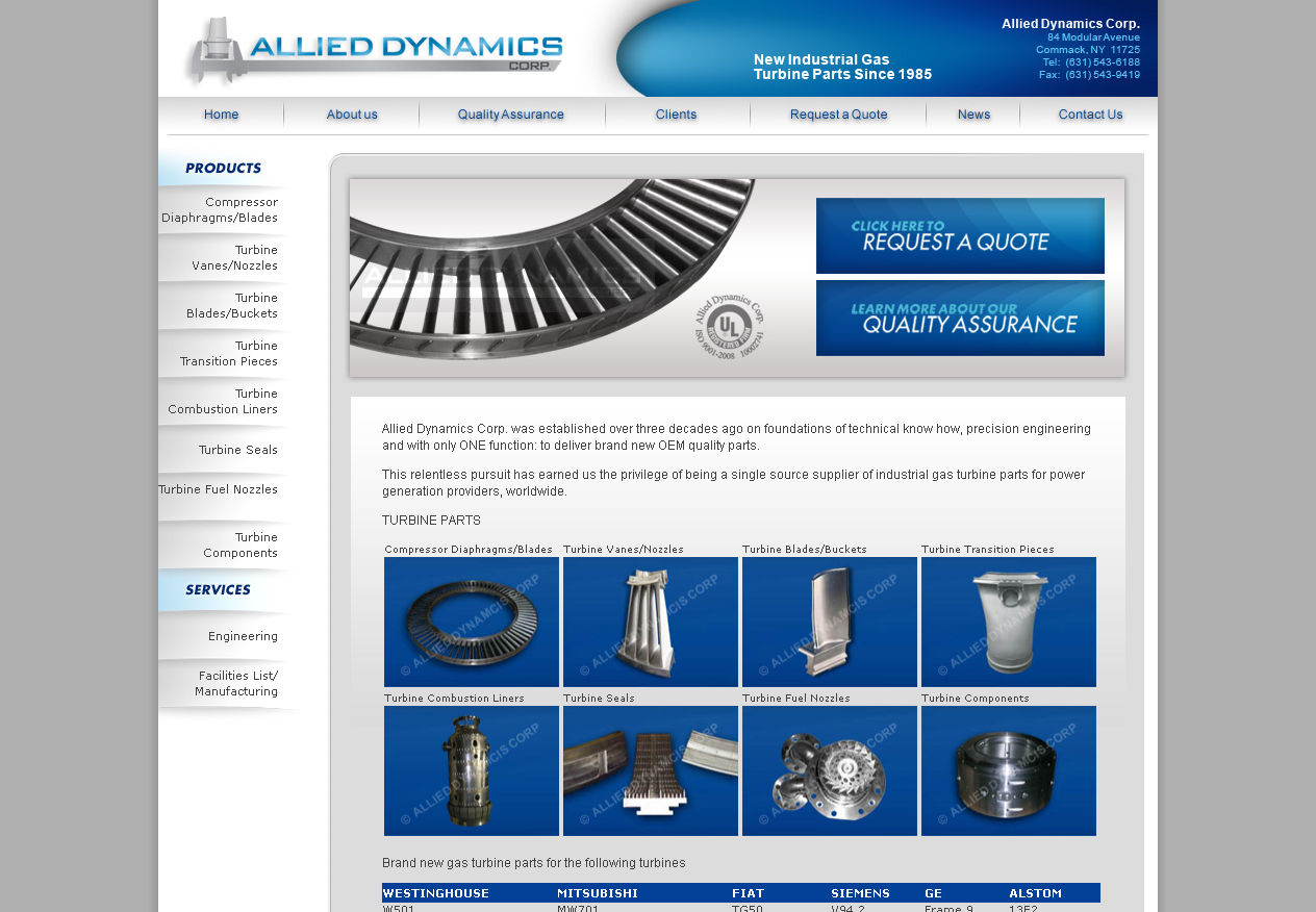 Thumbnail image of Allied Dynamics homepage screenshot