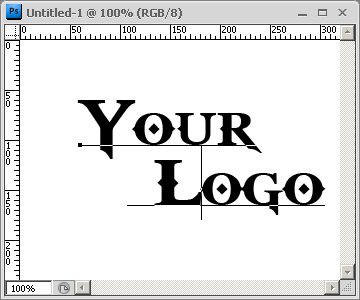 Screen capture of Photoshop image with Text Layer 'Your Logo'.