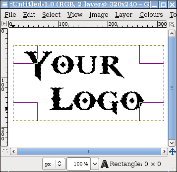 Screen capture of GIMP image showing text selected