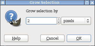 Screen capture of GIMP dialog box to increase pixels by 2
