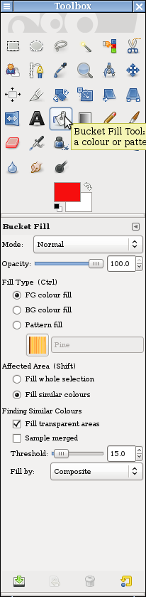 Screen shot of GIMP Toolbox hovering over Bucket Fill Tool