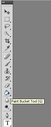 Screen shot of Photoshop tool bar hovering over Paint Bucket Tool