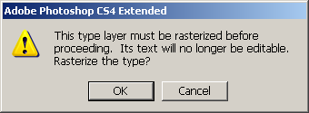 Photoshop dialog box showing this step can not be reveresed. Ok or Canel