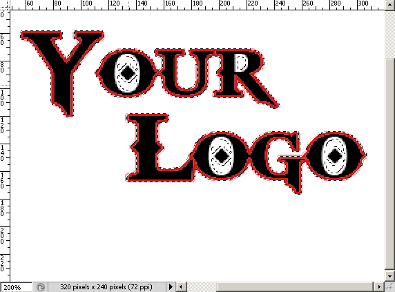 Screen shot of partially completed logo showing black letters outlined in red