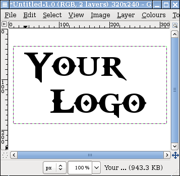 Screen capture of GIMP image with Text Layer 'Your Logo.